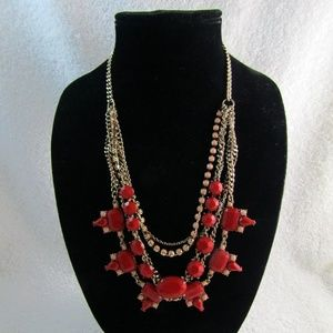 J CREW Red Pink Lucite Gold Tone Necklace